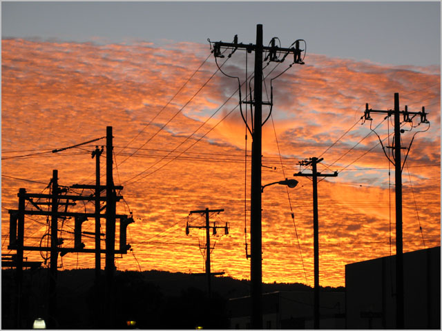 Power poles at a substation in San Carlos, California.