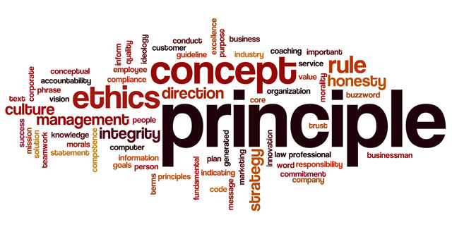 Principle word cloud concept