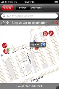 Find My Car in Westfield's iPhone app