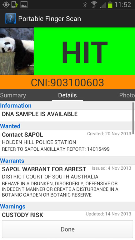 SA Police Deploy Android Fingerprint Scanners Delimiter